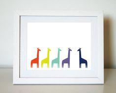 Colourful Giraffes 8X10 Art Print/Wall Art $20
