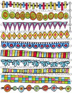 A sheet bright and fun hand drawn borders for you to use in your arty projects. Perfect for zetti type projects, art journals etc.    Each sheet