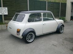 Black and white Mini Classic Hot Rod, Classic Mini, Classic Cars, Mini Clubman, Mini Coopers, Mini Cooper Sport, Old School Cars, Minis, Modified Cars