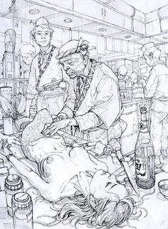 Kim Jung Gi is a South Korean artist known for his detailed drawings made without photographic reference. Kim Jung Gi is a South Korean artist known f. Drawn Art, Kim Jung, Illustration Art, Illustrations, Korean Illustration, Norman Rockwell, Art Graphique, Character Design References, Grafik Design