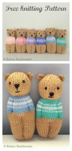 Teddy Bear Dolls Free Knitting Pattern This Little Teddy Bear Free Knitting Pattern is easy to knit in reverse stocking stitch. It's knitted all-in-one, from head to head. Teddy Bear Knitting Pattern, Knitted Doll Patterns, Knitted Teddy Bear, Bear Patterns, Knitted Dolls Free, Knitted Baby, Crochet Dolls, Crochet Patterns, Free Knitting