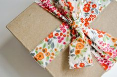 Use fabric as ribbon for gifts