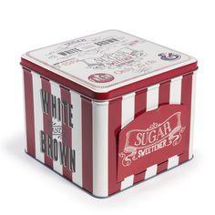 Boîte à sucre rouge H 12 cm RETRO