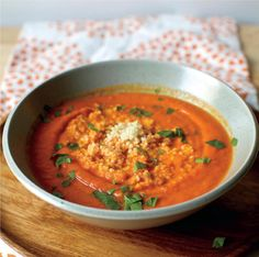 Spiced Carrot and Pepper Soup with a Couscous Swirl
