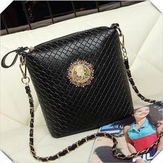 Dafengtrade - 2015 women's vintage knitted bucket bag chain women messenger bag small plaind women handbag