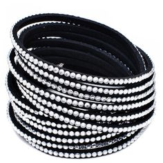 Seville Austrian Crystal Vegan Leather Wrap Bracelet (13 AUD) ❤ liked on Polyvore featuring jewelry, bracelets, black, black bangles, black wrap bracelet, wrap bracelet, black jewelry ve austrian crystal bracelet