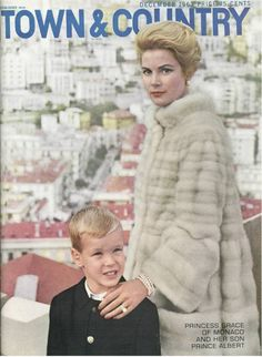 Grace Kelly and her son Prince Albert  December 1963 - Town & Country Magazine