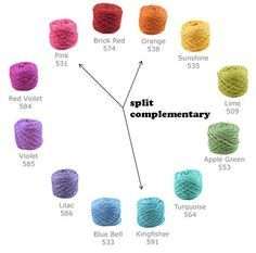 Great tutorial on how to choose yarn colors based on the color wheel. This is very helpful to remember when you're standing in the yarn store unsure of what colors to purchase.