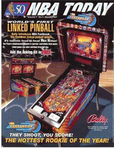 Bally NBA FASTBREAK Original 1997 NOS Pinball Machine Promo Sales Flyer LINKED  #Bally