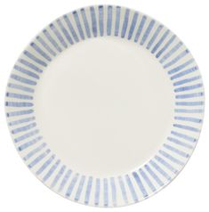 blue and white stripe plates