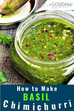 How to make Basil Chimichurri - delicious fresh herb sauce made in the blender. Drizzle over steak, chicken or seafood. Ideal for all your summer grilling! #chimichurri #basil #basilchimichurri #herbs #sauce #grilling #memorialday #healthyeating #agoudalife Fresh Basil Recipes, Herb Recipes, Grilling Recipes, Sauce Recipes, Cooking Recipes, Vegetarian Grilling, Healthy Grilling, Barbecue Recipes, Barbecue Sauce