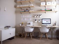 it's like someone went into my brain and took all of the items i own and made a fantastic room from it! i'm freaking out. Ikea Office, Office Workspace, Office Decor, Small Office, Organized Office, Office Nook, White Office, Office Ideas, Office Storage