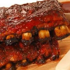 Delicious marinated spareribs baked in oven.Your family think they are eating out! Rib Recipes, Great Recipes, Cooking Recipes, Favorite Recipes, Venison Recipes, Pasta Recipes, Bbq Ribs, Pork Ribs, Receta Bbq