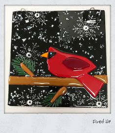 Red cardinal on a branch in the snow fused glass wall hanging. Paint Your Own Pottery, Pottery Painting, Fused Glass, Mosaic, Snow, Canvas, Wall, Red, Ideas
