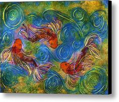 Koi Mating Dance Canvas Print / Canvas Art By Janet Immordino