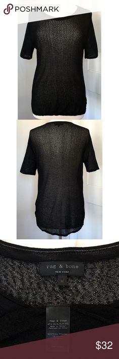 """🆕 rag & bone sheer open-knit tee Sheer, mesh-like open knit in edgy black. Similar to """"Odette"""" style. Size M. 73% viscose, 27% nylon. Measurements available upon request. Excellent used condition. rag & bone Tops Tees - Short Sleeve"""
