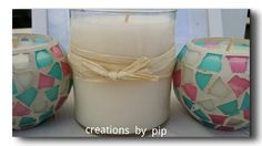 Soy Wax Candles poured in Port Douglas QLD  Mosaic - 38hr burn time $15 Glass Jar - 50hr burn time $18 Available in Lime & Coconut and French Vanilla @Pip Parbery