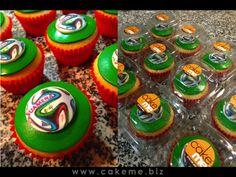 Cupcakes con balón del Mundial de fútbol 2014, en empaque individual, obsequio del Resturante Suamena en Cajicá para sus clientes durante los partidos.