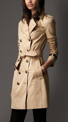 Long Cotton Gabardine Leather Detail Trench Coat   Burberry