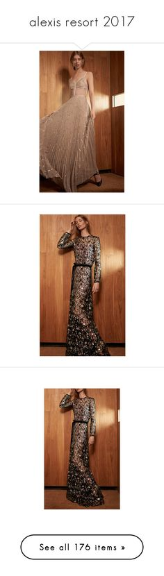 """""""alexis resort 2017"""" by xandra-black ❤ liked on Polyvore featuring dresses, gowns, alexis dresses, sequin ball gown, long sleeve dress, sequin gown, long sleeve gowns, flare sleeve dress, circle skirt and tiered cocktail dress"""