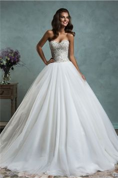 Fairy Ball Gown Strapless Puffy Tulle Crystal Beaded Wedding Dress