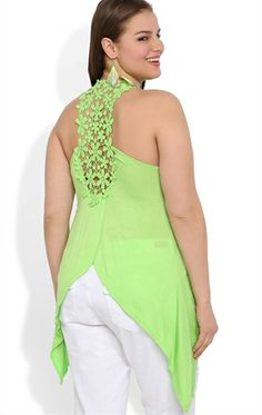 Plus Size Sharkbite Tank with Flower Crochet Detail and Tulip Back