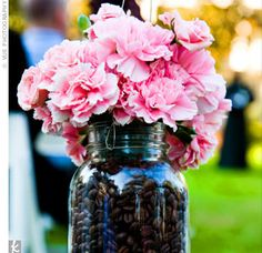 Seat Decor: Carnations + Coffee Beans