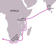 The route followed in Vasco da Gama's first voyage. Made by PhiLiP, 2008 (Wikimedia)
