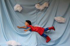 Sky backdrop. Superhero birthday party