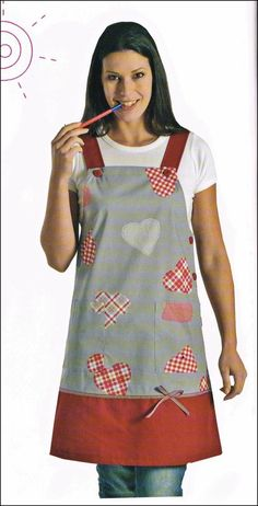 "PITXI ""HEARTS"" Funny Aprons, Cute Aprons, Retro Apron, Aprons Vintage, Adult Bibs, Apron Designs, Sewing Aprons, Dress Sewing, Kitchen Aprons"