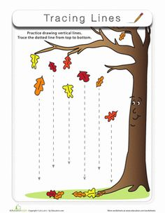 Fall Preschool Fine Motor Skills Worksheets: Tracing Lines