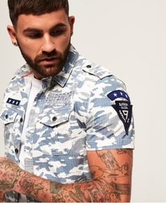Discover the latest trends in menswear & womenswear at Superdry. Kids Wear Boys, Denim Shirt Men, Mens Sale, Designing Women, Kids Shirts, Shirt Style, Casual Shirts, Shirt Designs, Men Casual