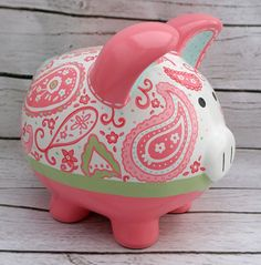 Personalized Piggy Bank Coral aqua and green by Alphadorable