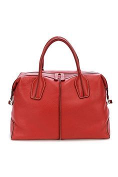 TOD'S Red Leather D-Styling Medium Bauletto Bag - Photo 1