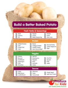 Build a Better Baked Potato--Traditional baked potatoes are smothered with some unhealthy toppings, like butter or full fat sour cream, but this side dish can easily be transformed info a nutrient-rich dinner by swapping out the toppings for healthier ones. You can even set up a build your own baked potato bar with these toppings and let kids pick their favorites to create a healthy, delicious dinner!
