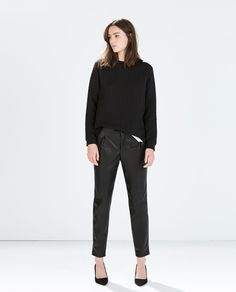 Image 1 of FAUX LEATHER TROUSERS from Zara