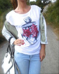Anchor T shirt - ispirazioni marinare e tatoo tee con azzurro, bianco, rosso e nero, automa style uisex tshirt, jeans danive' , amanda marzolini , the fashionamy outfit fashion blogger