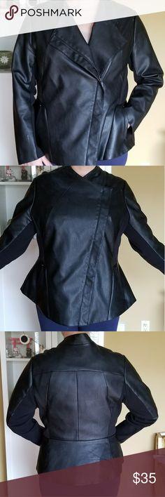 Lane Bryant Faux Leather Jacket Moto style faux leather jacket with peplum. This jacket is in like new condition. Lane Bryant Jackets & Coats Blazers