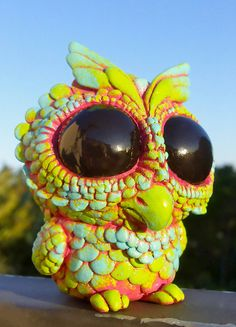Toddler Owl  Resin Toy in Spring Colors by Seriouslysillygirls