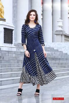 Blue-Anrakali-Style-Printed-Quater-Sleeve-Double-Layer-Kurthi-513-28610 Catalog No : 5798 WWW.LKFABKART.COM #wholesalekurtis #wholesalekurtisupplier #kurtisdealers #kurtiexporters #kurtimanufacturer #kurtistockist #fancy #festivewear #eventwear #kurti #factoryrates #worldwide #lkfabkart Kurti Sleeves Design, Kurti Neck Designs, Dress Neck Designs, Kurti Designs Party Wear, Blouse Designs, Dress Shirts For Women, Clothes For Women, Printed Kurti Designs, Fancy Kurti
