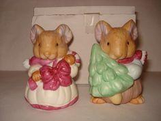 Vtg Christmas Girl Boy Mice Ceramic Salt Pepper Shaker s P Figurines Cute | eBay
