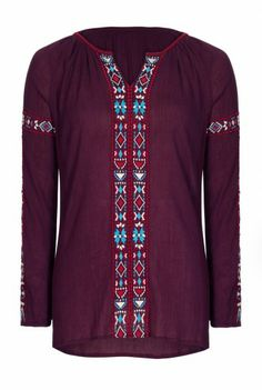 Long Tall Sally | Embroidered Folk Top In Purple At LTS
