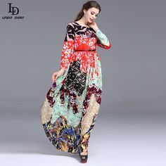 High Quality New 2016 Fashion Designer Runway Summer Maxi Dress Women's Long Sleeve Retro Floral Print Long Dress