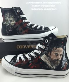 0557f202ec6c Custom Painted Walking Dead Converse Hi Tops Shoes All Adult Sizes by  AngeLordArt on Etsy https