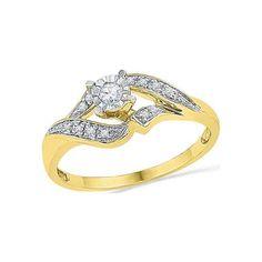 10kt Yellow Gold Womens Round Diamond Solitaire Bridal Wedding Engagement Ring 1/6 Cttw #yellowdiamonds