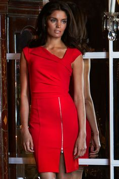 awesome dear-lover new vestido Red Pleated Shift Bodycon autumn and winter pencil dress work wear dresses roupas femininas Lipsy Dresses, Sexy Dresses, Nice Dresses, Casual Dresses, Short Dresses, Dresses For Work, Dress Work, Bandage Dresses, Fashion Dresses
