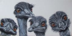 Emu Art... by Fiona Groom 'The Gangs all Here'  acrylic on canvas  wildlife art www.fmgfionagroomvisualartist.com