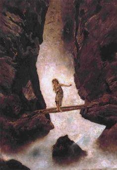 """Niemand kann dir die Brücke bauen """"Am Wasserfall"""" von Anton Romako (1832–1889)"""