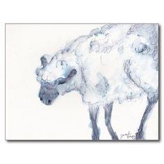 水彩画風羊モチーフのポストカード。2015年をアートなご挨拶から始めてみてはいかが? #zazzle #2015 #年賀状