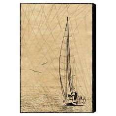 Featuring a sailboat motif and neutral hue, this eye-catching canvas print makes an artful accent to your bedroom or entryway.  Prod...